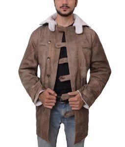The Dark Knight Rises Bane Tom Hardy Fur Leather Coat