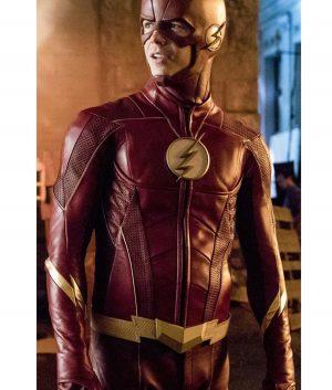 The Flash Grant Gustin Barry Allen Season 4 Maroon Leather Jacket