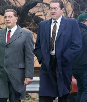 ROBERT DE NIRO The Irishman Frank Sheeran Blue Cotton Trench Coat