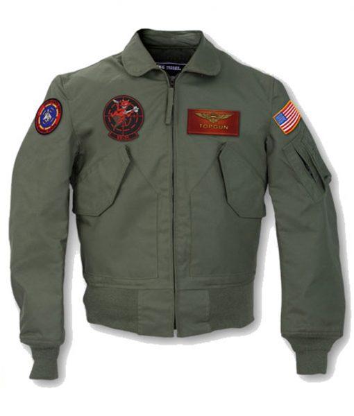 Tom Cruise Top Gun 2 Maverick MA-1 Flight Bomber Patched Leather Jacket