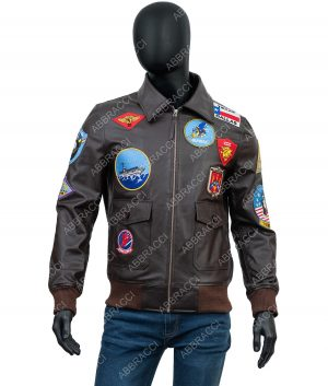 Tom Cruise Top Gun Patched G-1 Flight Bomber Brown Leather Jacket