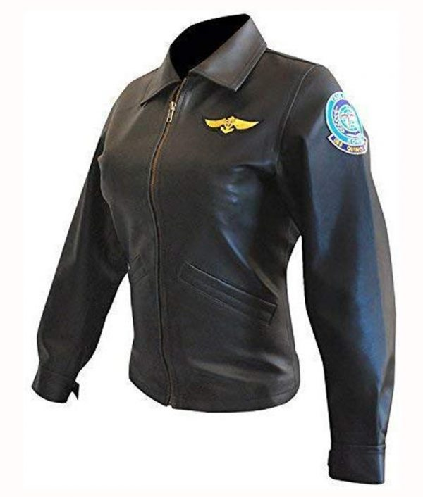 Kelly McGillis Top Gun Pilot Charlie Black Leather Jacket