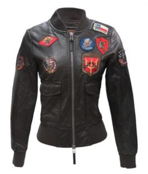 Top Gun Women's Bomber Vegan Leather Jacket With Patches