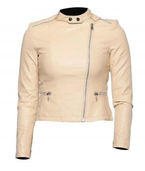 Womens Classic Beige Leather Jacket