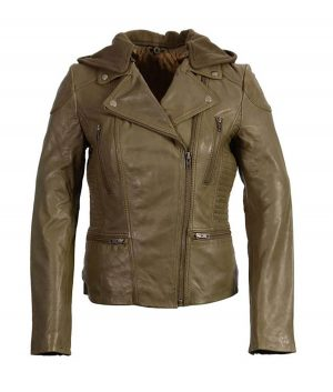 Womens Classic Olive Biker Leather Jacket