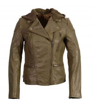 Womens Classic Olive Biker Leather Jacket