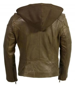 Womens Classic Motorcycle Olive Leather Jacket With Removeable Hood