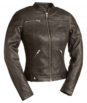 Womens Spandex Fitted Quilted Stitched Cafe Racer Jacket