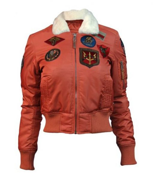 Women's Top Gun B-15 Flight Bomber Jacket With Patches