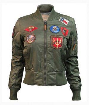 Womens Top Gun MA-1 Olive Bomber Jacket