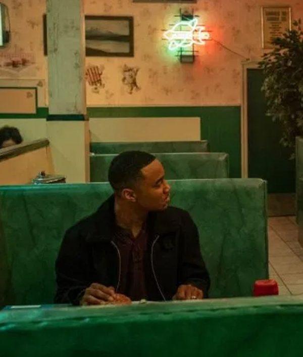 Dangerous Lies Jessie T. Usher Black Adam Jacket With Shearling Collar