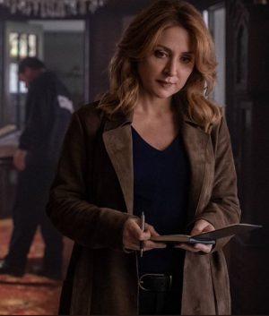 Dangerous Lies Sasha Alexander Suede Leather Detective Chesler Trench Coat