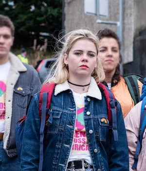Saoirse-Monica Jackson Derry Girls Erin Blue Sherpa Denim Jacket