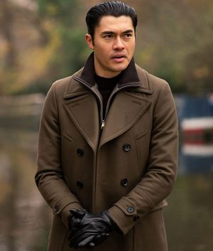 Henry Golding Brown Double Breasted Dry Eye The Gentlemen Trench Coat