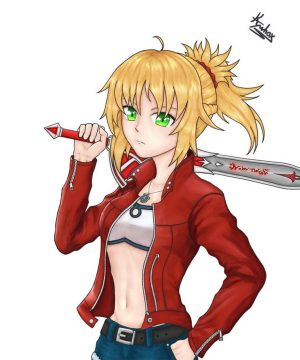 Fate Apocrypha Red Cafe Racer Saber Leather Jacket