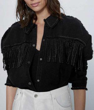 Jodie Comer Killing Eve Villanelle Black Fringe Denim Jacket