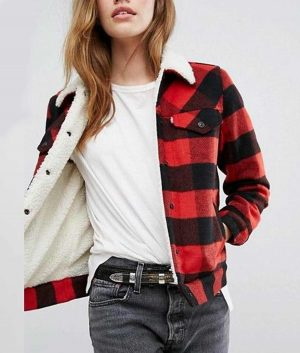 Money Heist Plaid Sherpa Jacket