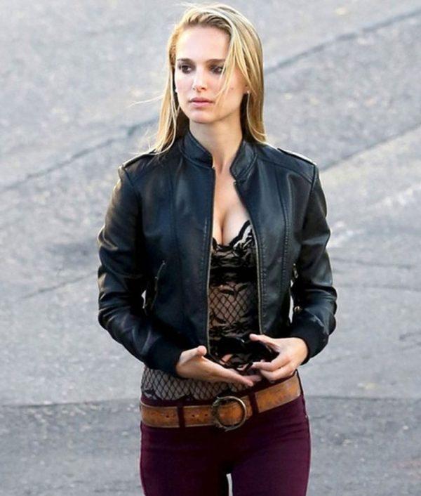 Natalie Portman Black Leather Jacket