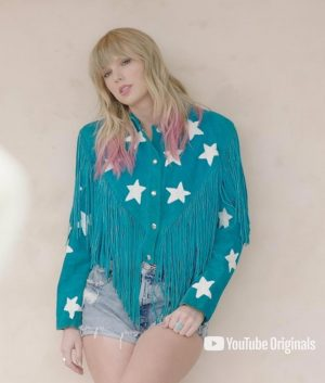Taylor Swift Blue Fringe Jacket