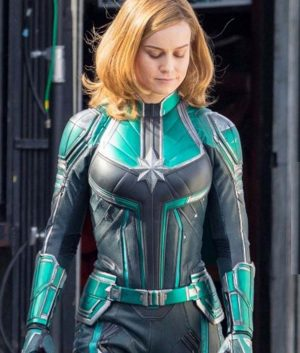 Captain Marvel Brie Larson Team Green Leather Jacket