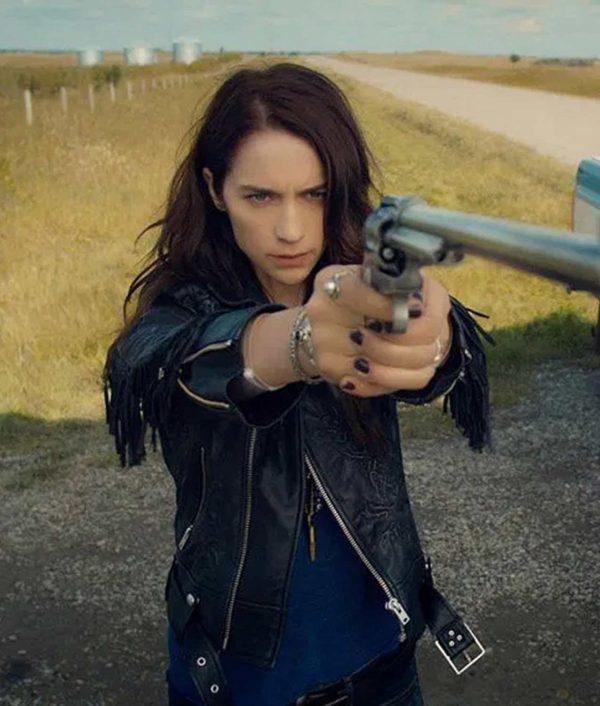 Melanie Scrofano Wynonna Earp Black Leather Fringe Jacket