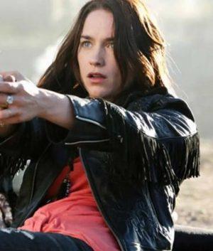 Wynonna Earp Black Leather Fringe Jacket