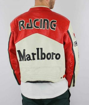 Red and White Vintage Racing Leather Marlboro Jacket