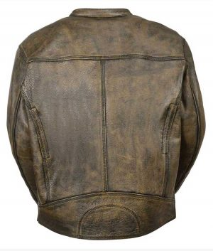 Men's Motorcycle Distressed Brown Jacket