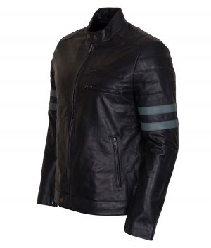 Mens Mayhem Retro Blue Stripe Biker Jacket