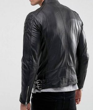 Mens Cafe Racer Style Black Leather Jacket