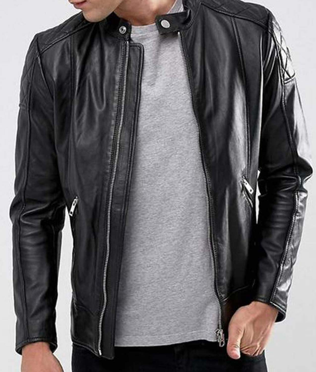 Mens Cafe Racer Style Black Leather Jacket Cafe Racer Jacket