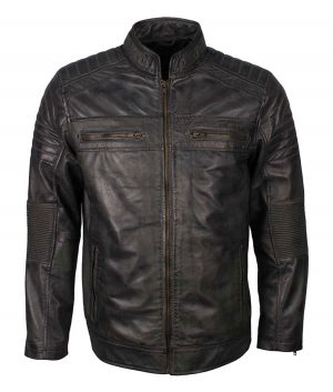 Mens Grey Waxed Café Racer Jacket