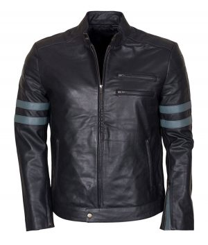 Mens Mayhem Blue Stripe Retro Jacket