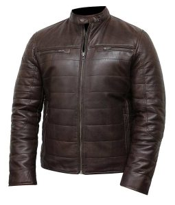 Mens Puffer Brown Leather Jacket