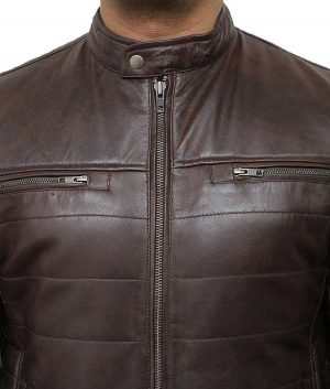 Mens Puffer Brown Leather Café Racer Jacket