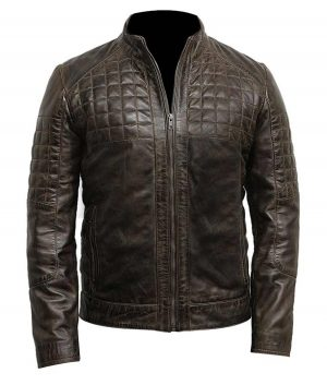 Mens Quilted Design Café Racer Brown Jacket