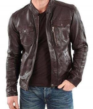 Mens Racer Casual Brown Leather Jacket