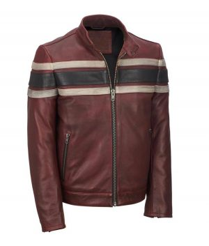 Mens Red Waxed Retro Jacket