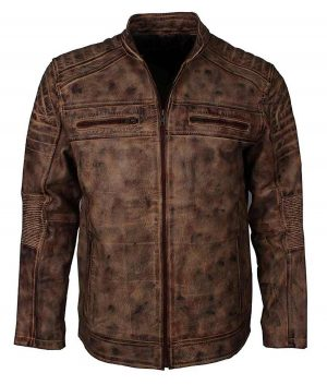 Mens Vintage Brown Café Racer Jacket