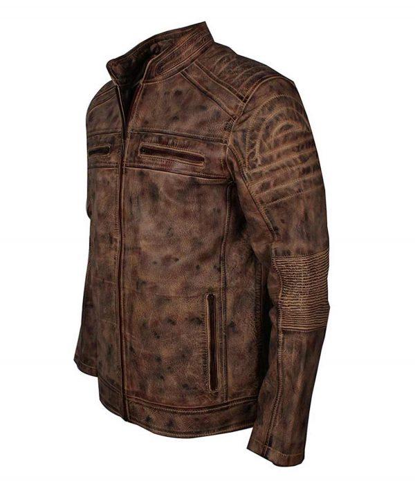 Mens Vintage Brown Waxed Café Racer Jacket