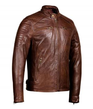 Mens Brown Café Racer Jacket
