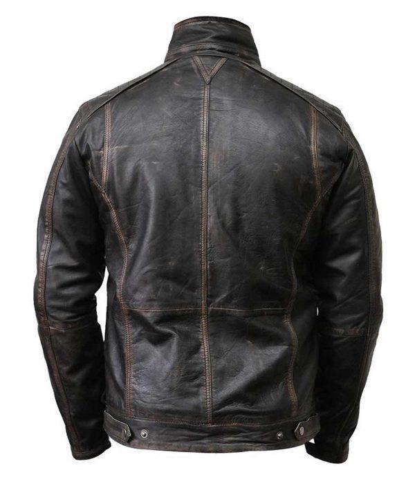Waxed Detailed Mens Black Vintage Jacket