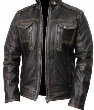Waxed Detailed Mens Black Jacket