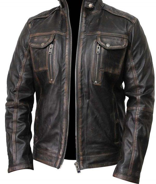 Waxed Detailed Mens Black Jacket