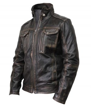Waxed Detailed Mens Black Vintage Biker Jacket