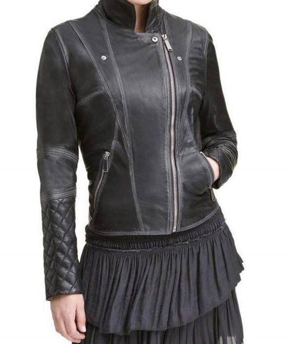 Womens Black Quilted Motorcycle Jacket
