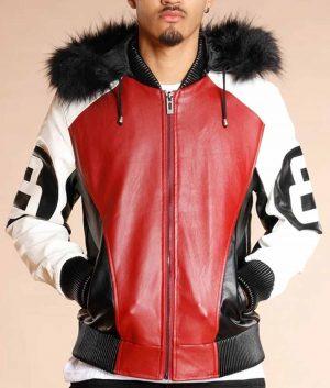 8 Ball Logo Fur Hooded Jacket