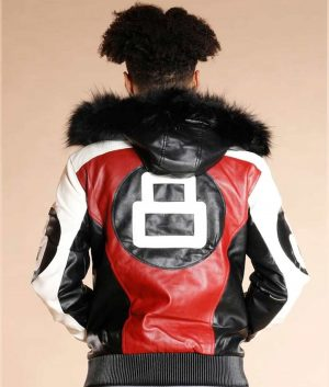 8 Ball Logo Fur Hooded Leather Jacket