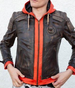 Goku Orange Hood Brown Leather Jacket