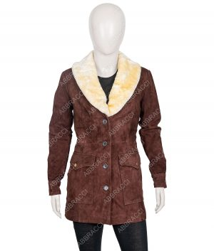 Yellowstone Season 02 Kelly Reilly Wool Blend Coat With Fur Collar